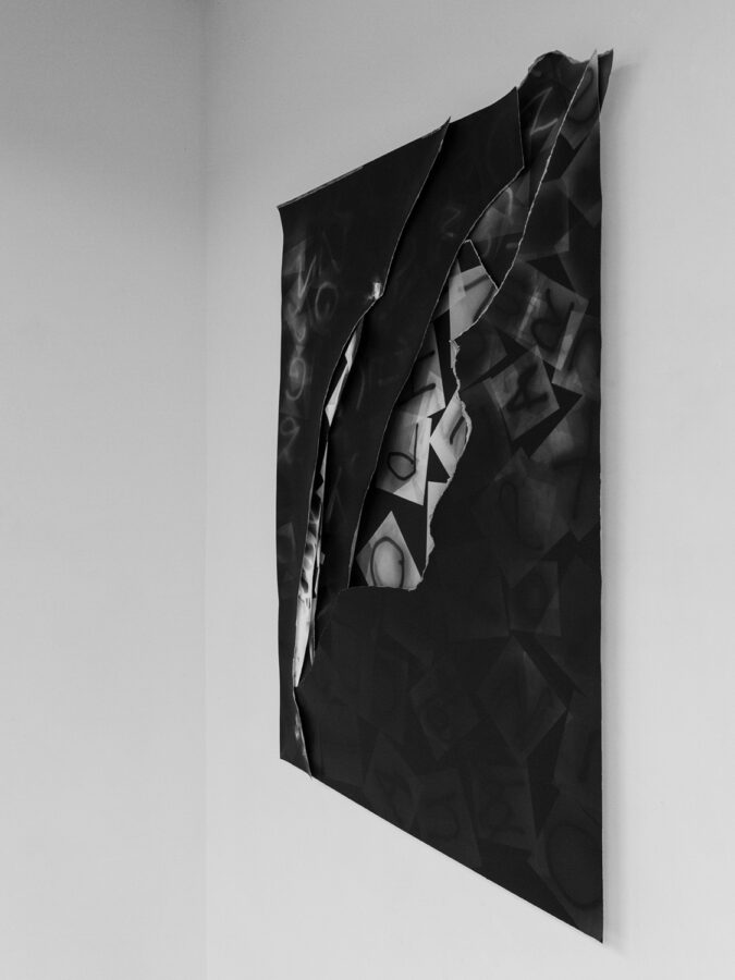 """Dialog by Elisabeth Ajtay-Exhibition view at Don Soker Gallery San Francisco of """"Untitled (Subjugated)"""" comprised of collaged layers of photograms"""