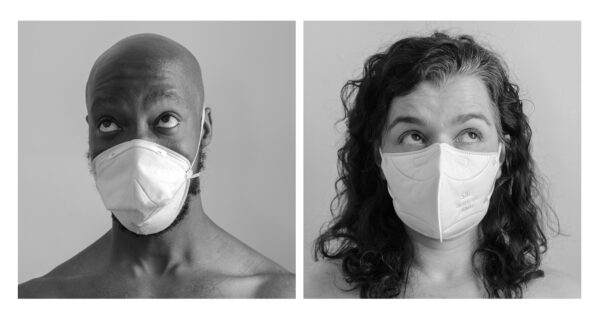 two portraits, a man and woman, both wearing a white facemasks. The image is black and white. Facial expression: questioning